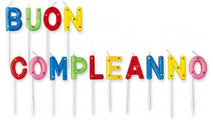 Candele Scritta BUON COMPLEANNO - multicolor pois - candeline per torte e dolci