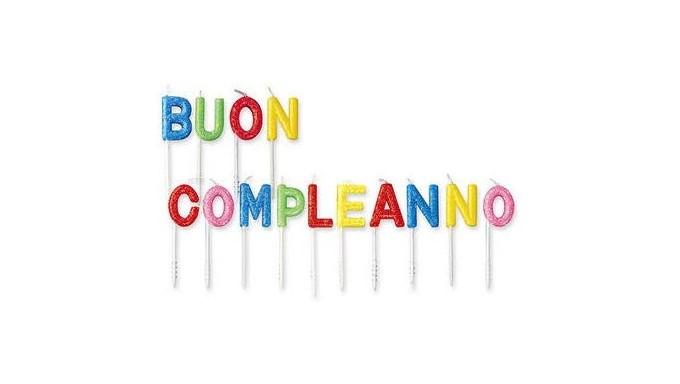 Candele Scritta BUON COMPLEANNO - multicolor glitter - candeline per torte e dolci