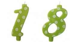CANDELA NUMERALE 18 ANNI VERDE POIS