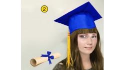 Cappello Laurea TOCCO con Pergamena Gadget per la Festa Laureato LAUREATA - BLU