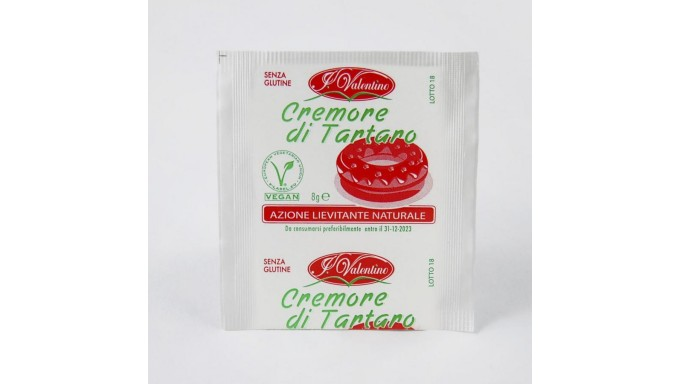 Cremore di Tartaro 10 bustine da 8 gr per dolci - lievito Naturale SENZA GLUTINE