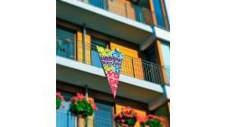 FESTONE bandiera scenario Happy Birthday in tessuto - 90x150cm