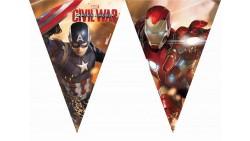 FESTONE bandierine in plastica Avengers Capitan America e Iron Man Marvel 2,3mt