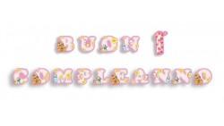 Festone BUON 1° COMPLEANNO rosa - per bambina