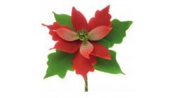 Fiore STELLA di NATALE ROSSA in ZUCCHERO Ø11 cm - decorazione natalizia per torte e dolci