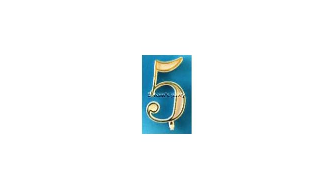 NUMERIN0 5 PLASTICA FILO ORO H. 4,5 CM