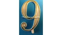 NUMERIN0 9 PLASTICA FILO ORO H. 4,5 CM