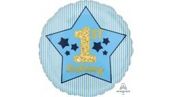 Palloncino 1° COMPLEANNO Stella celeste Oro - gonfiabile ad aria o elio - 45cm