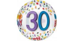 Palloncino BUBBLES numero 30 Anni - Pallone ORBZ tondo Trasparente 40cm