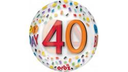Palloncino BUBBLES numero 40 Anni - Pallone ORBZ tondo Trasparente 40cm