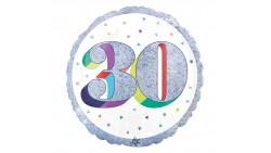 Palloncino foil mylar 30 ANNI Argento POP ART - gonfiabile ad aria o ad elio - 45 cm