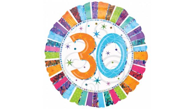 Palloncino foil mylar 30 ANNI multicolor con stampa olografica - Ø45 cm