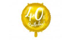 Palloncino foil mylar 40 ANNI colore ORO - gonfiabile ad aria o ad elio - 45 cm