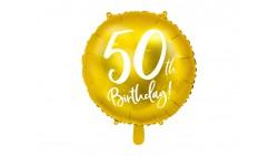 Palloncino foil mylar 50 ANNI colore ORO - gonfiabile ad aria o ad elio - 45 cm