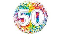 Palloncino foil mylar 50 ANNI fantasia coriandoli - 46 cm