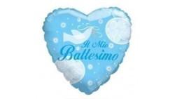 Palloncino foil Mylar BATTESIMO cuore CELESTE bimbo - gonfiabile ad aria o ad elio