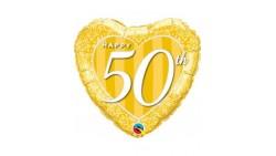 Palloncino foil Mylar cuore - 50° Anniversario - Oro