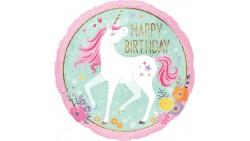 Palloncino foil mylar UNICORNO Happy Birthday con stampa olografica - 45 cm