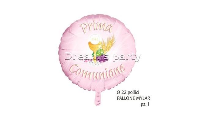 PALLONE MYLAR PRIMA COMUNIONE ROSA 22 POLLICI