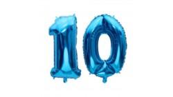 Pallone numero 10 Dieci BLU in MYLAR foil - PALLONCINO numerale 41cm
