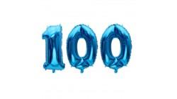 Pallone numero 100 Cento - BLU in MYLAR foil - PALLONCINO numerale 41cm