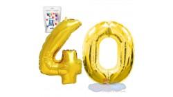 Pallone numero 40 QUARANTA ORO - PALLONCINO numerale in MYLAR foil - 1 mt