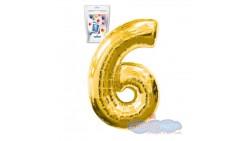 Pallone numero 6 SEI ORO - PALLONCINO numerale in MYLAR foil - 1 mt