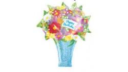 Pallone PALLONCINO in foil MYLAR MAZZO FIORI - addobbo decorazione feste, party, compleanno, feste bambini - gonfiabile