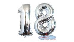 Pallone PALLONCINO numero 18 DICIOTTO ARGENTO in MYLAR foil 41cm