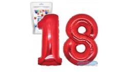 Pallone PALLONCINO numero 18 DICIOTTO ROSSO numerale in MYLAR foil 100cm