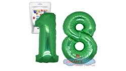 Pallone PALLONCINO numero 18 DICIOTTO VERDE numerale in MYLAR foil 100cm