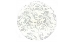 Piatti dessert decorati fantasia ARGENTO in plastica Ø18 - 6 pezzi - addobbo decoro tavola TORTA