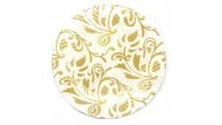 Piatti dessert decorati fantasia ORO in plastica Ø18 - 6 pezzi - addobbo decoro tavola