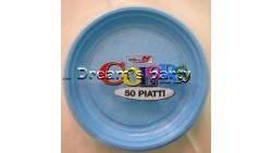 PIATTO PLASTICA CELESTE D. 17CM PZ 50