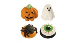 Set 4 decorazioni HALLOWEEN in zucchero - Zucca Fantasma Ragno Occhio per torte