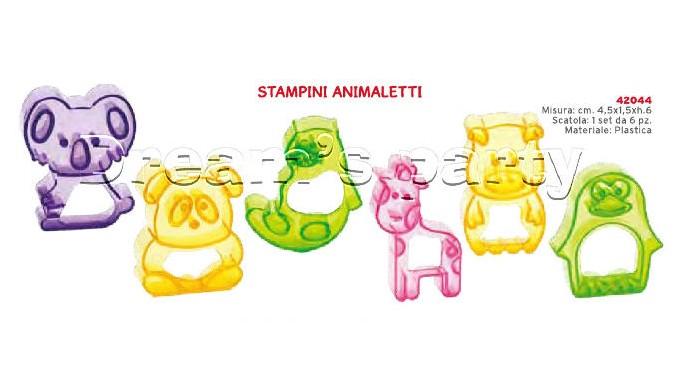 SET 6 STAMPI ANIMALETTI DIMENSIONE  4,5X1,5XH6  CM