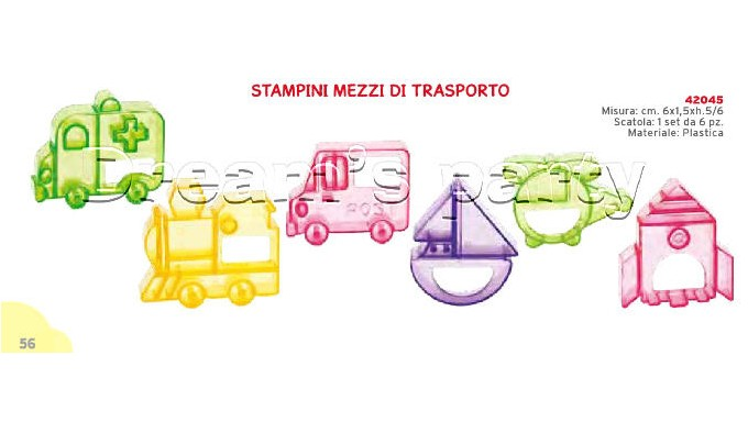 SET 6 STAMPI MEZZI DI TRASPORTO DIMENSIONE  6X1,5HX5/6  CM