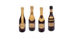 Set 7 bottiglie spumante BRUT in CIOCCOLATO - decorazione torta natale capodanno