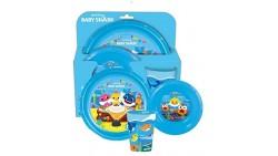 Set pasto pappa bimba bambini BABY SHARK piatto piano, fondo e bicchiere in plastica