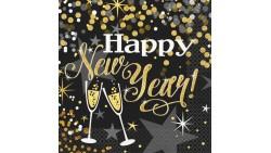 16 TOVAGLIOLI in carta Happy New Year NERO e ORO capodanno natale