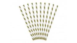 10 cannucce in carta Bianche strisce Oro Lucido - cannuccia in carta rigida