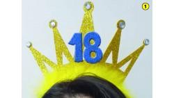 Cerchietto Frontino 18 Anni Corona Coroncina Oro Happy Birthday BUON COMPLEANNO