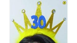 Cerchietto Frontino 30 Anni Corona Coroncina Oro Happy Birthday BUON COMPLEANNO