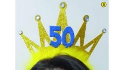 Cerchietto Frontino 50 Anni Corona Coroncina Oro Happy Birthday BUON COMPLEANNO