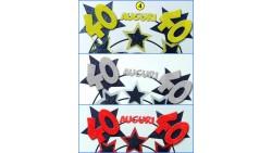 Cerchietto Frontino Auguri 40 Anni stelle Color ARGENTO Glitter BUON COMPLEANNO