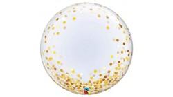 Palloncino BUBBLES con pois oro - Pallone tondo Trasparente 61cm