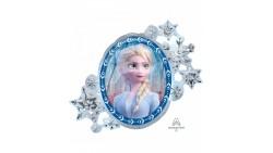 1 Pallone PALLONCINO in foil MYLAR FROZEN regno di ghiaccio Elsa e Anna 76X66 cm