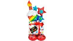 Pallone GIGANTE a Forma di pacco regalo 71x139cm - PALLONCINO gonfiabile ad aria