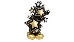 Pallone GIGANTE a Forma di stelle Nero e Oro 149cm - PALLONCINO si gonfia aria