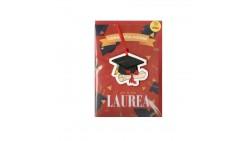 Biglietto di Auguri LAUREA per il laureato Laureata con ciondolo Tocco in legno